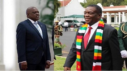 Les présidents Emmerson Mnangagwa du Zimbabwe et Mokgweetsi Masisi du Botswana