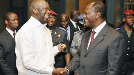 Laurent Gbagbo et Ouattara
