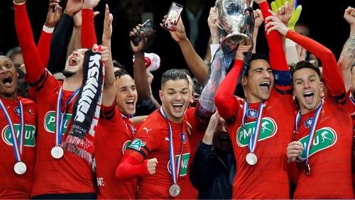 Le Stade Rennais a remporté la Coupe de France 2019, la 3e de son histoire, face au PSG (2-2, 6 tab à 5) le 27 avril 2019. Charles Platiau/Reuters