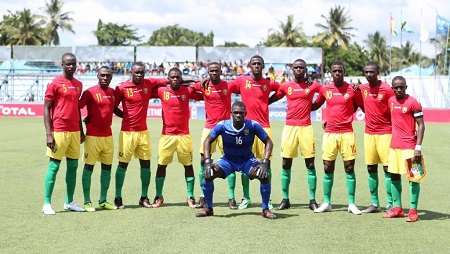 L'équipe de Guinée présente en Tanzanie lors de la CAN des moins de 17 ans, en 2019. Courtesy of CAF