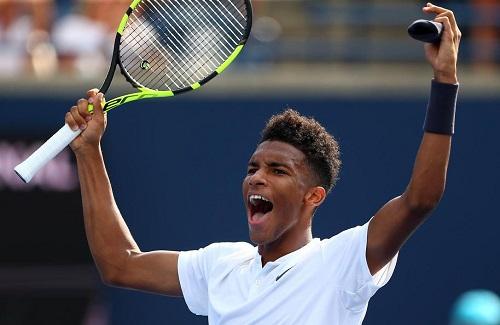 Felix Auger-Aliassime, 18 ans, né au Canada d'un père togolais . photo: Toronto Star