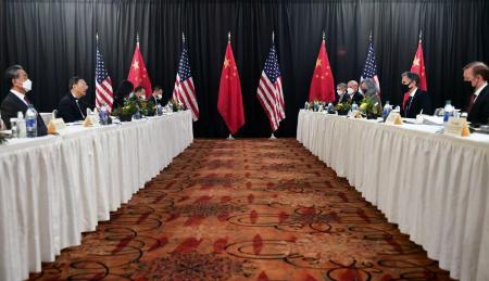 Première rencontre sous l'ère Biden entre responsables américains et chinois à Anchorage (Alaska), le 18/03/21.    Frederic J. Brown/Pool Photo via AP, File)