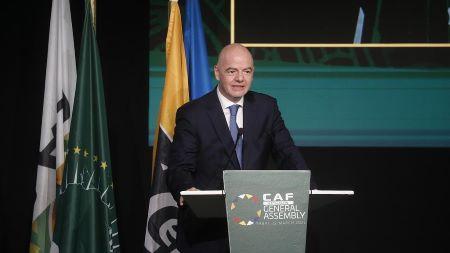 Président de la FIFA, Gianni Infantino, lors de la 43e Assemblée générale ordinaire et élective de la CAF