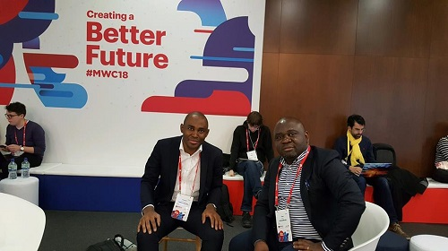 Yimeumi Jules-Hervé et Tinno Bang Mbang au MWC2018 à Barcelone