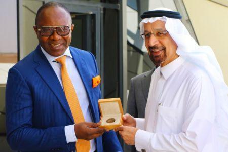 Le ministre nigérian du Pétrole, Emmanuel Kachikwu, avec son homologue saoudien, Khalid al-Falih