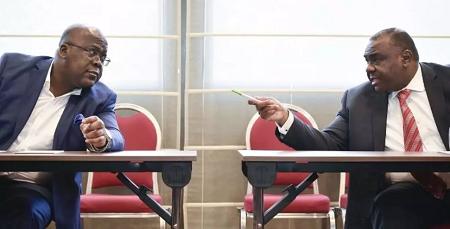 Félix Tshisekedi et Jean-Pierre Bemba, en septembre 2018 à Bruxelles, en Belgique. (image d'illustration) JOHN THYS / AFP