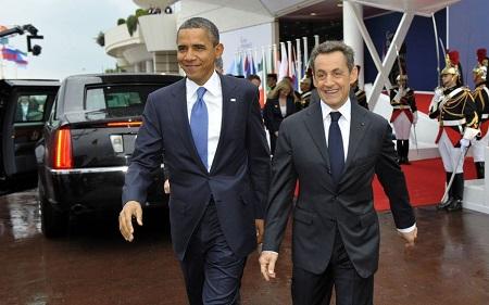 Barack Obama et Nicolas Sarkozy au G20 à Cannes en 2011. AFP/Philippe Wojazer.