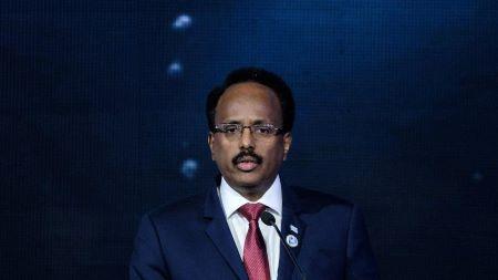 Le président somalien Farmajo prononcant un discours lors de la conférence sur l'économie bleue durable au KICC à Nairobi, au Kenya, le 26 novembre 2018.   -   Copyright © africanews YASUYOSHI CHIBA/AFP