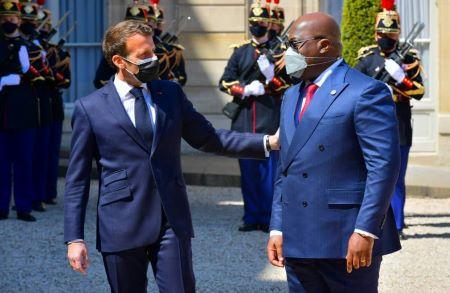 Le Chef de l'État congolais, Félix-Antoine Tshisekedi Tshilombo a été reçu à l'Elysée, mardi 27 avril , par son homologue français Emmanuel Macron pour un déjeuner de travail. Photo : RSA