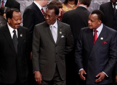 Les présidents de la zone cemac,  Biya du Cameroun, Deby du Tchad et Sassou du Congo