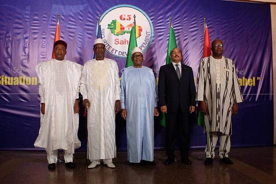 Les chefs d'État des pays membres du G5 Sahel (Burkina, Mali, Mauritanie, Niger, Tchad)