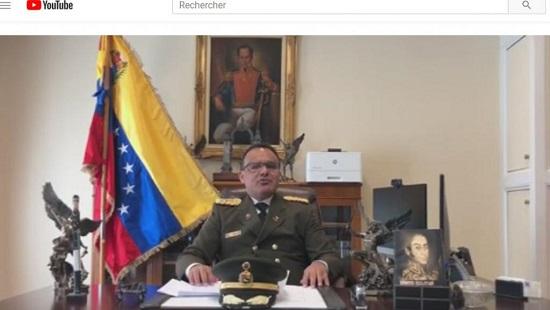 Capture d'écran de la vidéo de la déclaration du colonel José Luis Silva qui annonce son ralliement à Juan Guaido, samedi 26 janvier 2019. youtube.com