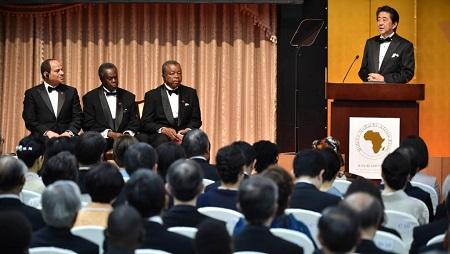Le Premier ministre japonais Shinzo Abe lors de son discours cloturant le Ticad, ce vendredi 30 août 2019. AFP Photos/Kazuhiro NOGI