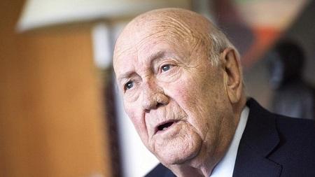 Le dernier président sud-africain de l'apartheid, Frederik de Klerk