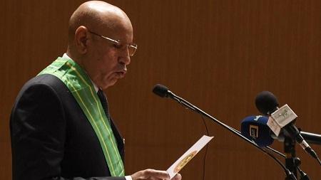 Le président mauritanien, Mohamed Ould Ghazouani, lors de sa prestation de serment, le 1er août 2019 à Nouakchott. Seyllou / afp