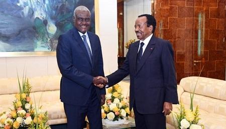 Le président de la Commission de l'Union africaine, Moussa Faki Mahamat et le Président Paul Biya