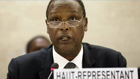 L'ancien président burundais, Pierre Buyoya, au siège européen des Nations unies à Genève le 1er avril 2015. AP Photo/Keystone, Salvatore Di Nolfi