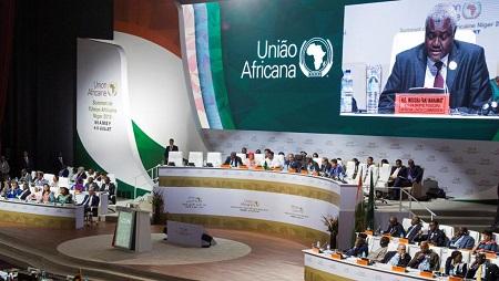 Le président de la Commission de l'Union africaine, Moussa Faki Mahamat, lors du sommet de l'Union africaine à Niamey, au Niger, le 7 juillet 2019. © REUTERS/Tagaza Djibo