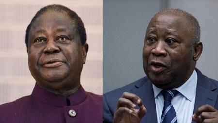 Photomontage représentant les deux anciens présidents ivoiriens Henri Konan Bedié (G) et Laurent Gbagbo ( D). © SIA KAMBOU / AFP/ Peter Dejong/REUTERS