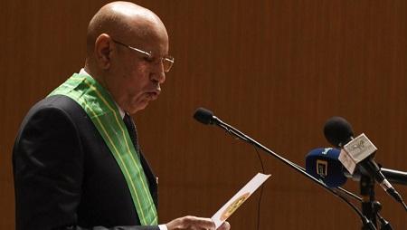 Le nouveau président mauritanien, Mohamed Ould Ghazouani, ici lors de sa prestation de serment, le 1er août 2019 à Nouakchott. © Seyllou / afp