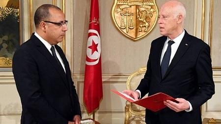 Le nouveau premier ministre Hichem Mechichi et le président tunisien, Kais Saied..(GETTY IMAGES )