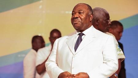 Le président gabonais Ali Bongo lors du congrès de son parti, le PDG, près de Libreville, le 10 décembre 2017. © Steve JORDAN / AFP