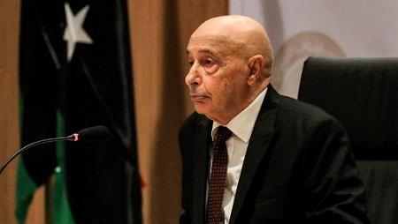 Le chef du Parlement libyen Aguila Saleh, ici à Benghazi le 13 avril 2019. © Abdullah DOMA / AFP