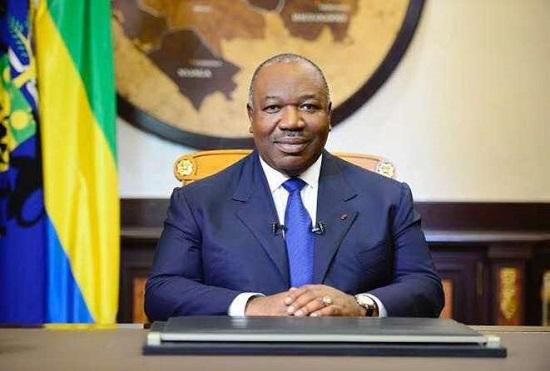 Le chef de l'Etat gabonais Ali Bongo, lors du discours de vœux de nouvel An 2018 au peuple Gabonais