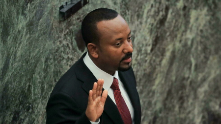 Le Premier ministre éthiopien Abiy Ahmed lors de son investiture, le 4 octobre 2021, à Addis-Abeba. REUTERS - TIKSA NEGERI