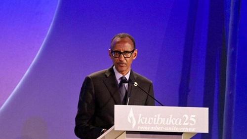 Le président rwandais Paul Kagame qui a tout au long de son discours vanté la force de son peuple. © ©RFI/Pierre René-Worms