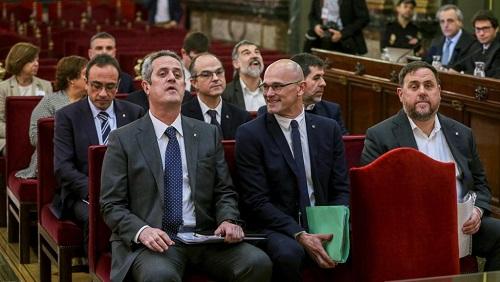 Les leaders séparatistes catalans en procès. Mardi 12 février 2019 à Madrid. Emilio Naranjo/Pool via REUTERS