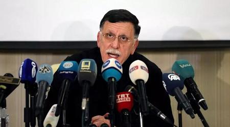 Le Premier ministre libyen Fayez el-Sarraj en conférence de presse, le 15 février 2020 à Tripoli. (Image d'illustration) REUTERS/Ismail Zitouny