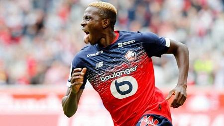 Le Nigérian Victor Osimhen fêtant son premier but avec Lille, le 11 août 2019 contre Nantes. Pascal Rossignol/Reuters