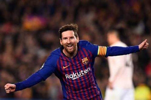 L'attaquant du Barça Lionel Messi auteur d'un doublé face à Manchester United en quarts retour de C1 au Camp Nou, le 16 avril 2019 AFP