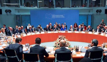 Vue générale des participants au Sommet de la paix sur la Libye à la Chancellerie de Berlin