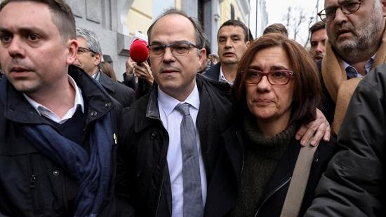 Le leader séparatiste catalan Jordi Turull, à son départ de la Cour suprême après témoignage, à Madrid le 23 mars 2018. Il fait partie de ceux qui seront jugés à Madrid. REUTERS/Susana Vera