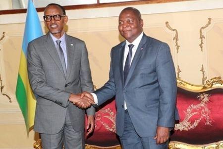 Le président rwandais, Paul Kagame et Faustin-Archange Touadéra, président centrafricain