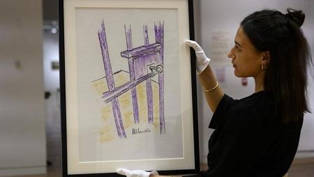 «The Cell Door, Robben Island» a été réalisé par Nelson Mandela en 2002. © Johannes EISELE / AFP