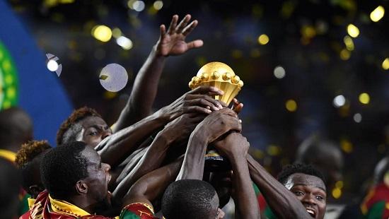 Les Camerounais, vainqueurs de la CAN 2017. GABRIEL BOUYS / AFP