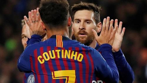 Philippe Coutinho et Lionel Messi, deux des trois buteurs du FC Barcelone face à l'Olympique lyonnais, le 13 mars 2019. Susana Vera/Reuters