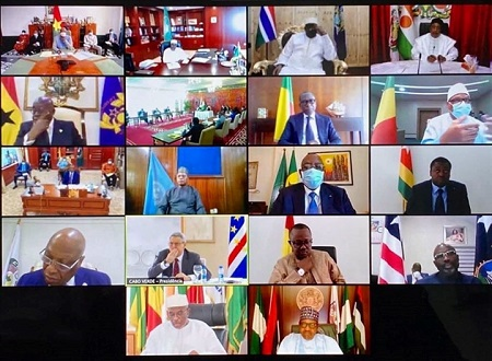 Les chefs d`états de la cedeao, ont tenu une visio conférence dont l`objet était d`évaluer l`impact et l`évolution de la pandémie du Covid19 dans leurs pays . Jeudi 23 avril 2020.
