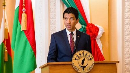 Le président malgache Andry Rajoelina lors d'une conférence de presse au palais présidentiel à Antananarivo, le 29 avril 2019. © Mamyrael / AFP