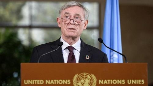 L'envoyé spécial de l'ONU sur le Sahara, Horst Köhler, à l'issue des discussions sur le dossier sensible du Sahara occidental. © Fabrice COFFRINI / AFP