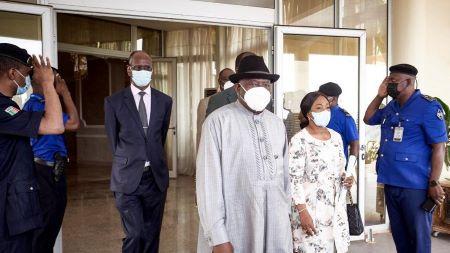 L'ancien président nigérian et envoyé spécial de la Communauté économique des États d'Afrique de l'Ouest (CEDEAO), Goodluck Jonathan : Photo - MICHELE CATTANI/AFP