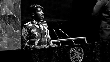 Thomas Sankara à la tribune de l'ONU. © ONU