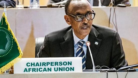 Le président en exercice de l'Union africaine, Paul Kagame, lors de la réunion d'Addis-Abeba le 17 janvier 2019. © EDUARDO SOTERAS / AFP