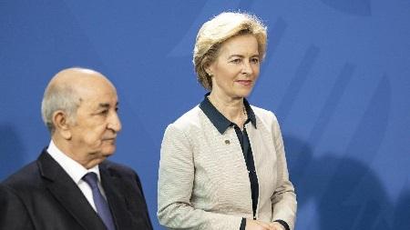 Abdelmadjid Tebboune avec Ursula von der Leyen. D. R.