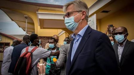 Jean-Pierre Lacroix, Secrétaire général adjoint des nations unies chargé des opérations de maintien de la paix en visite le mercredi 2 juin 2021 à Bangui © Carol Valade/RFI