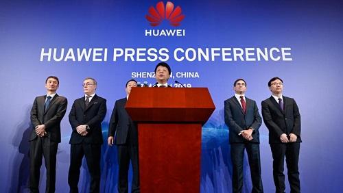 Le président de Huawei, Guo Ping, lors de la conférence de presse à Shenzen, le 7 mars 2019. AFP Photos/Wang Zhao