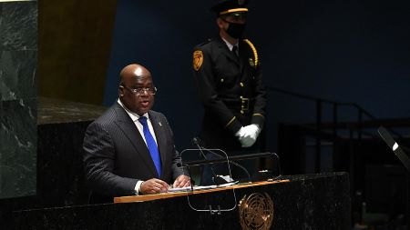 Le président de la République démocratique du Congo Félix Antoine Tshisekedi Tshilombo s'adresse à la 76e session de l'Assemblée générale des Nations Unies  - TIMOTHY A. CLARY/AFP